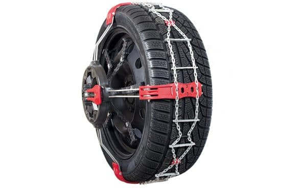 Snow chain with front mounting for light commercial vehicles and 4×4s