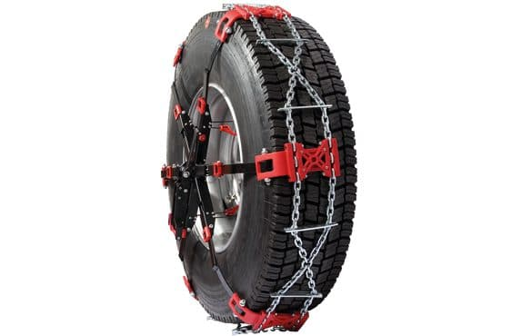 Snow chain with front mounting for lorries and buses